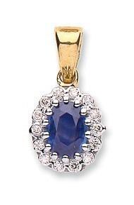 Selling: 9ct Yellow Gold 0.12ct Diamond & 1.12ct Sapphire Pendant