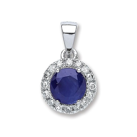 Selling: 9ct White Gold 0.15ct Diamond, 0.6ct 5mm Round Sapphire Pendant