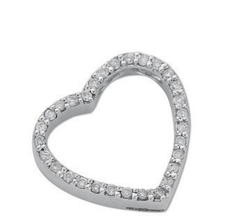 Selling: 9ct White Gold 0.32ct Diamond Heart Pendant