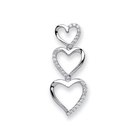 Selling: 9ct White Gold 0.15ct Diamond Heart Pendant