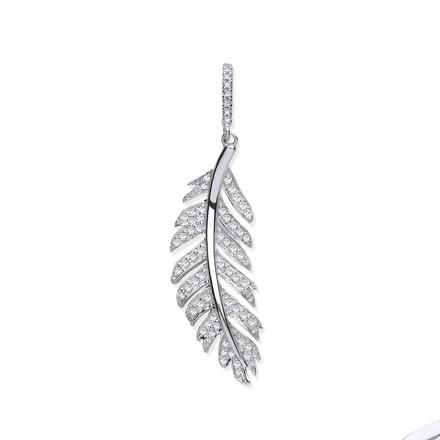 Selling: 9ct White Gold 030ctw Feather Shape Diamond Pendant