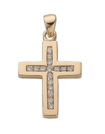 Selling: 9ct Yellow Gold 0.32ct Diamond Cross