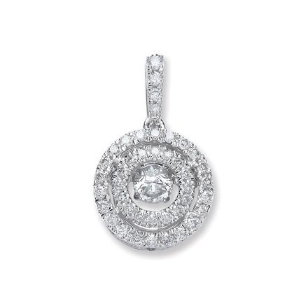 Selling: 9ct White Gold 0.33ct Dancing Diamond Circle Pendant
