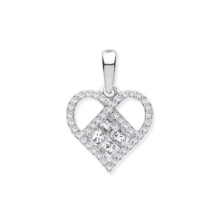 Selling: 9ct White Gold 0.33ctw Heart Diamond Pendant