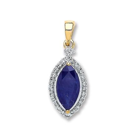 Selling: 9ct Yellow Gold 0.10ct Diamond, 1.00ct Marquise Sapphire Pendant