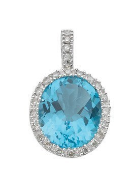 Selling: 9ct White Gold 0.21ct Diamond & 5.85ct Blue Topaz Pendant