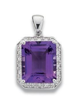 Selling: 9ct White Gold 0.19ct Diamond & 5.11ct Amethyst Pendant