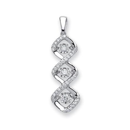 Selling: 9ct White Gold 0.25ct Dancing Diamond Drop Pendant