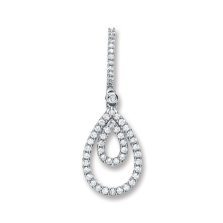 Selling: 9ct White Gold 0.30ct Diamond Drop Pendant