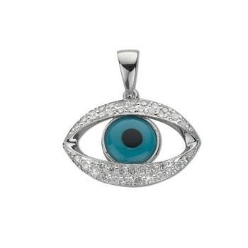 Selling: 18ct White Gold 0.20ct Diamond Evil Eye Pendant