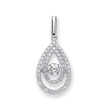 Selling: 9ct White Gold 0.38ct Dancing Diamond Drop Pendant
