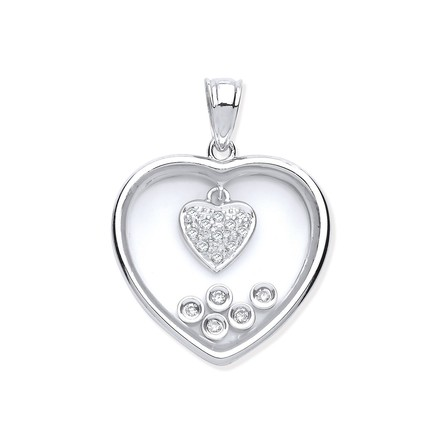 Selling: 9ct White Gold Floating 0.11ct Diamonds in Heart Pendant