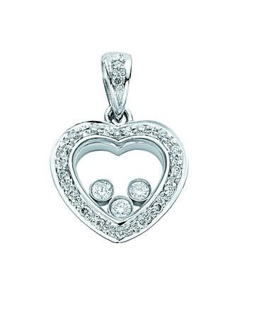 Selling: 18ct White Gold 0.18ct Floating Diamond Heart Pendant