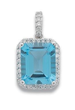 Selling: 9ct White Gold 0.38ct Diamond & 7.50ct Blue Topaz Pendant