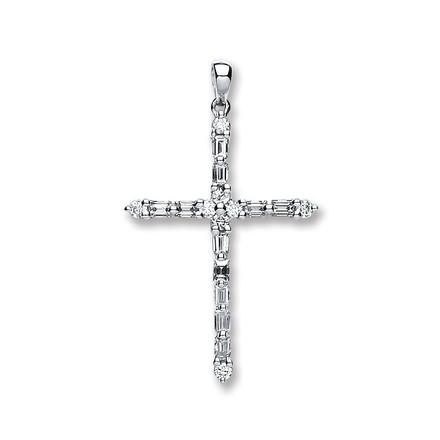 Selling: 18ct White Gold 0.44ct Diamond Cross Pendant