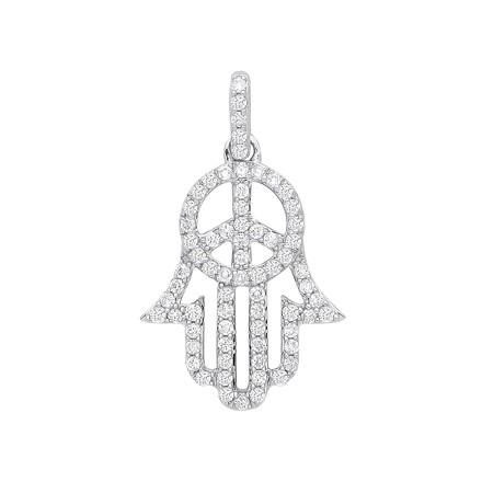Selling: 9ct White Gold 0.48ct Diamond  Hamsa Pendant