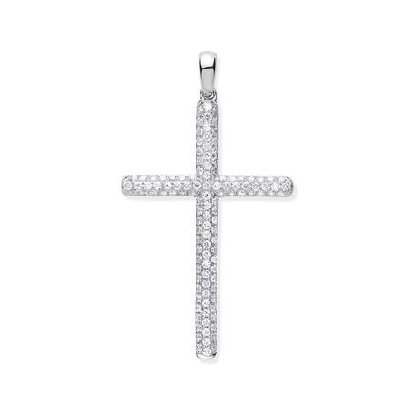 Selling: 18ct White Gold 0.45ct Diamond Set Cross