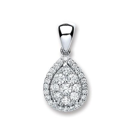 Selling: 18ct White Gold 0.40ct Diamond Pear Sh Pendant