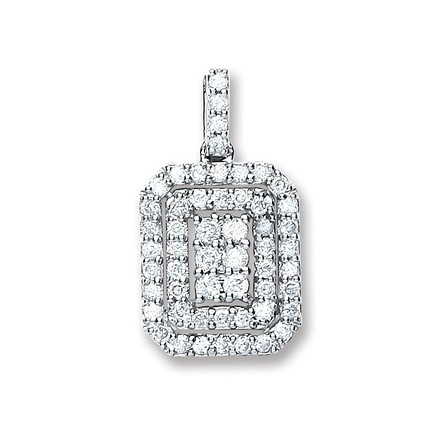 Selling: 9ct White Gold 0.55ct Diamond Fancy Pendant