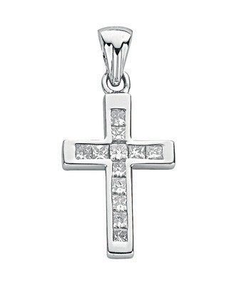 Selling: 18ct White 0.44ct Princess Diamond Cross
