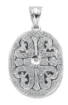 Selling: 9ct White Gold 0.31ct Diamond Locket Pendant