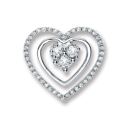 Selling: 18ct White Gold 0.40ct Diamond Heart Pendant