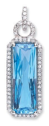Selling: 9ct White Gold Diamond & Blue Topaz Pendant