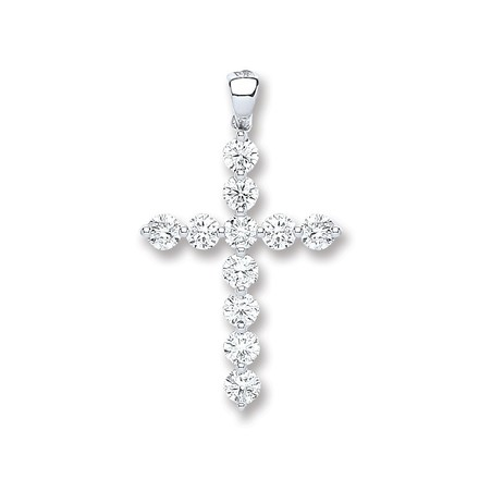 Selling: 18ct White Gold 0.70ct Diamond Cross Pendant