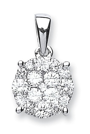 Selling: 18ct White Gold 0.75ct Diamond Cluster Pendant
