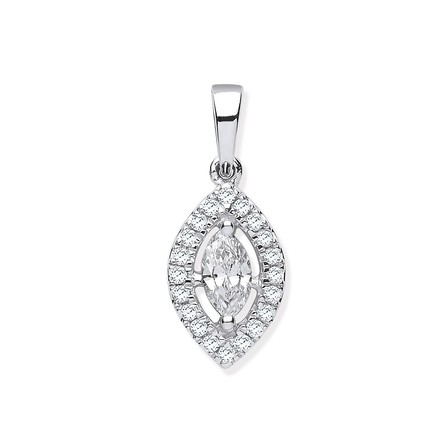 Selling: 18ct White Gold 0.40ct Marquise Shaped Diamond Pendant