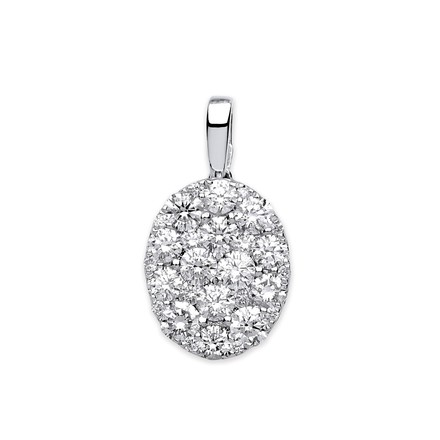 Selling: 18ct White Gold Oval  0.75ct Pave Pendant