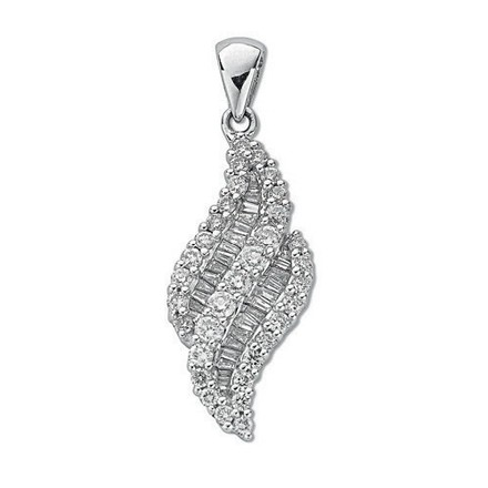 Selling: 18ct White Gold 0.75ct Brilliant & Baguette Diamond Pendant