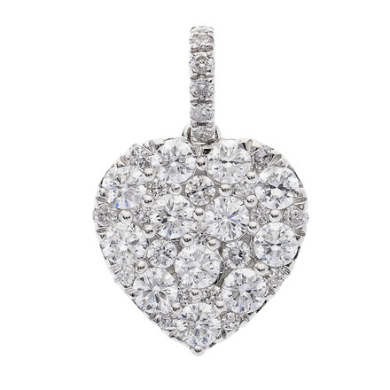 Selling: 18ct White Gold 0.93ct Brilliant Cut Diamond Grain Set Heart Pend