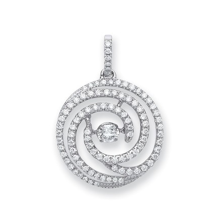 Selling: 18ct White Gold 0.60ct Dancing Diamond Drop Pendant