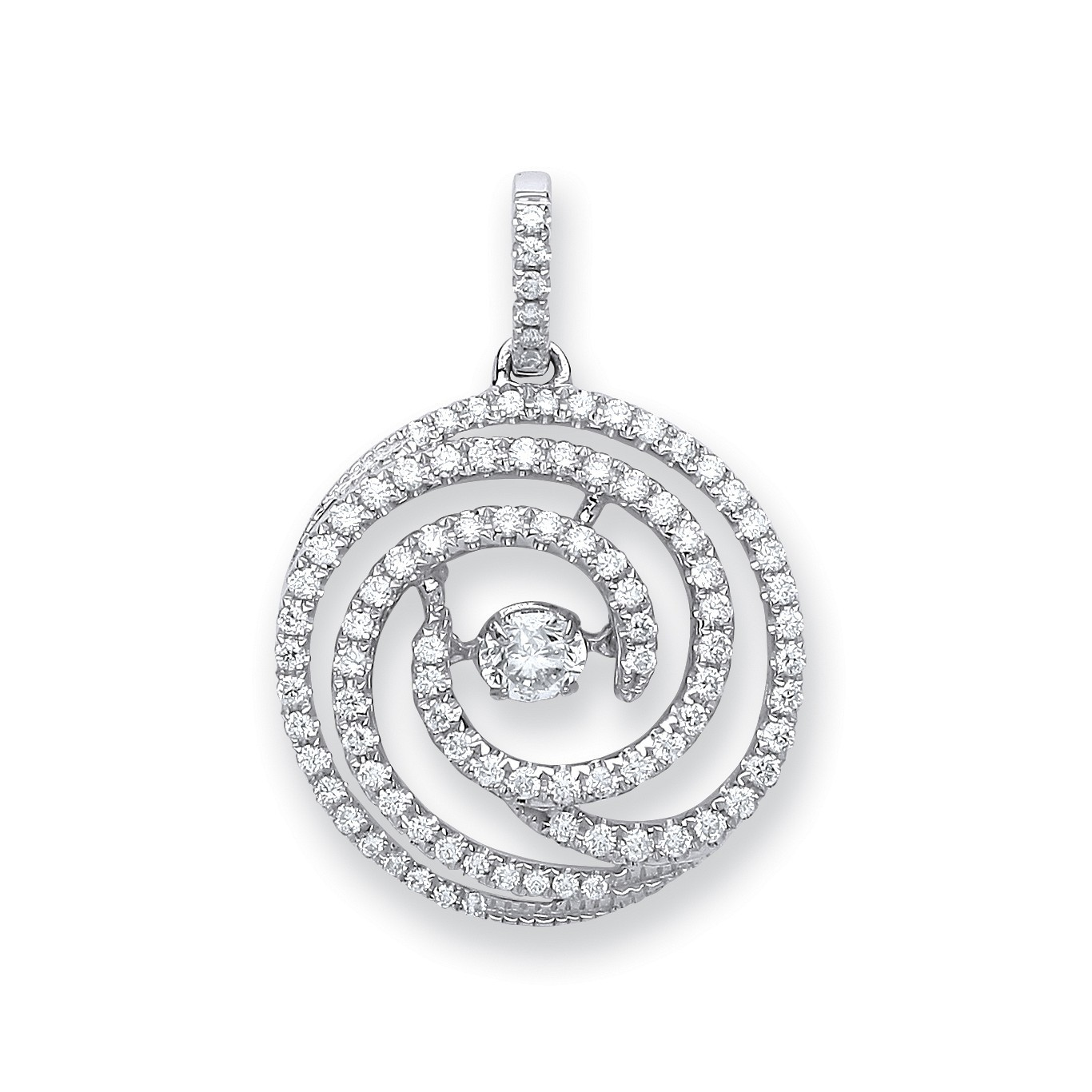 18ct White Gold 0.60ct Dancing Diamond Drop Pendant
