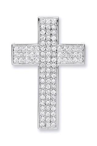 18ct White Gold Pave Set 0.80ct Diamond Cross