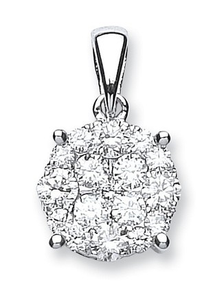 Selling: 18ct White Gold 1.00ct Diamond Cluster Pendant