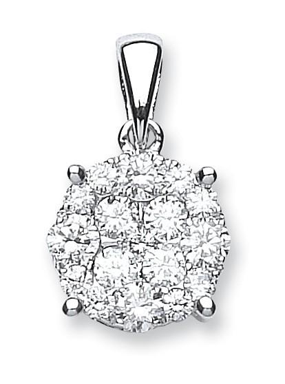 18ct White Gold 1.00ct Diamond Cluster Pendant