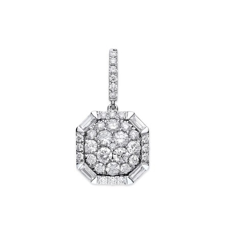 Selling: 18ct White Gold 1.00ct Brilliant & Baguette Cut diamond pendant