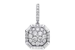 Selling: 18ct White Gold 1.00ct Brilliant & Baguette Cut diamond pendant