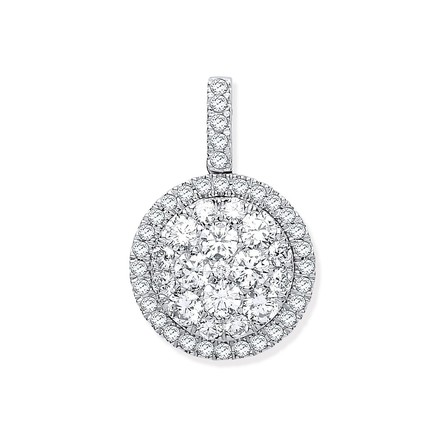 Selling: 18ct White Gold 1.13ctw Round Drop Pendant