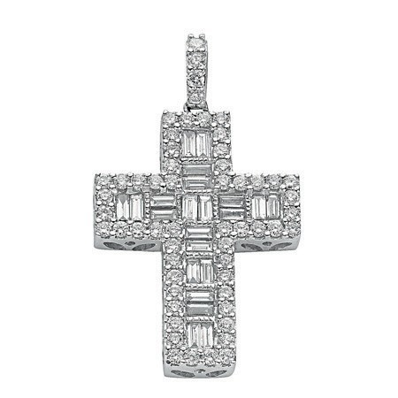 18ct White Gold 1.02ct Brilliant & Baguette Diamond Cross