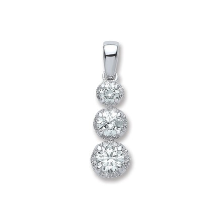 Selling: 18ct White Gold 0.75ct Diamond Trilogy Pendant