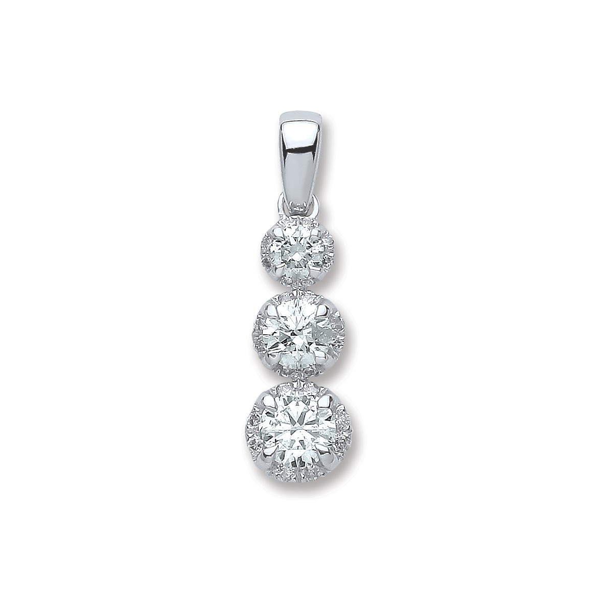 18ct White Gold 0.75ct Diamond Trilogy Pendant