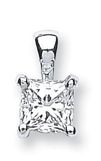Selling: 18ct White Gold 0.50ct Princess Cut Diamond Pendant