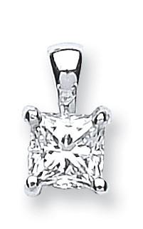 18ct White Gold 0.50ct Princess Cut Diamond Pendant