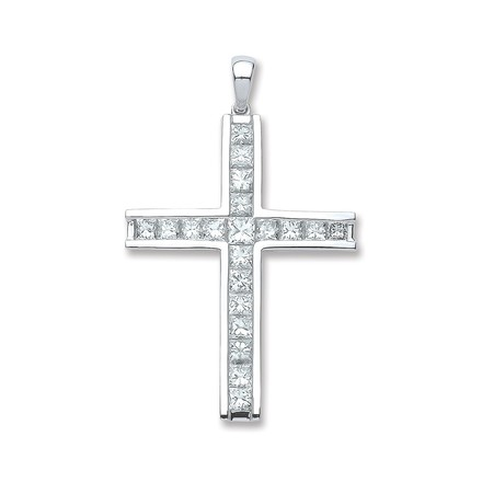 Selling: 18ct White Gold 1.17ct Princess Cut Diamond Cross