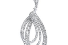 Selling: 18ct White Gold 0.86ct H-SI Dia Fancy Drop Pendant