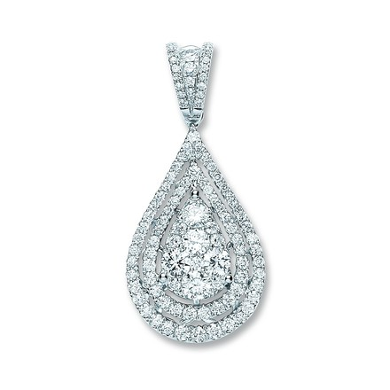 Selling: 18ct White Gold 1.30ct Diamond Drop Pendant