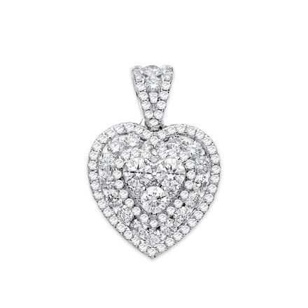 Selling: 18ct White Gold 1.35ct Heart Pave Diamond Pendant